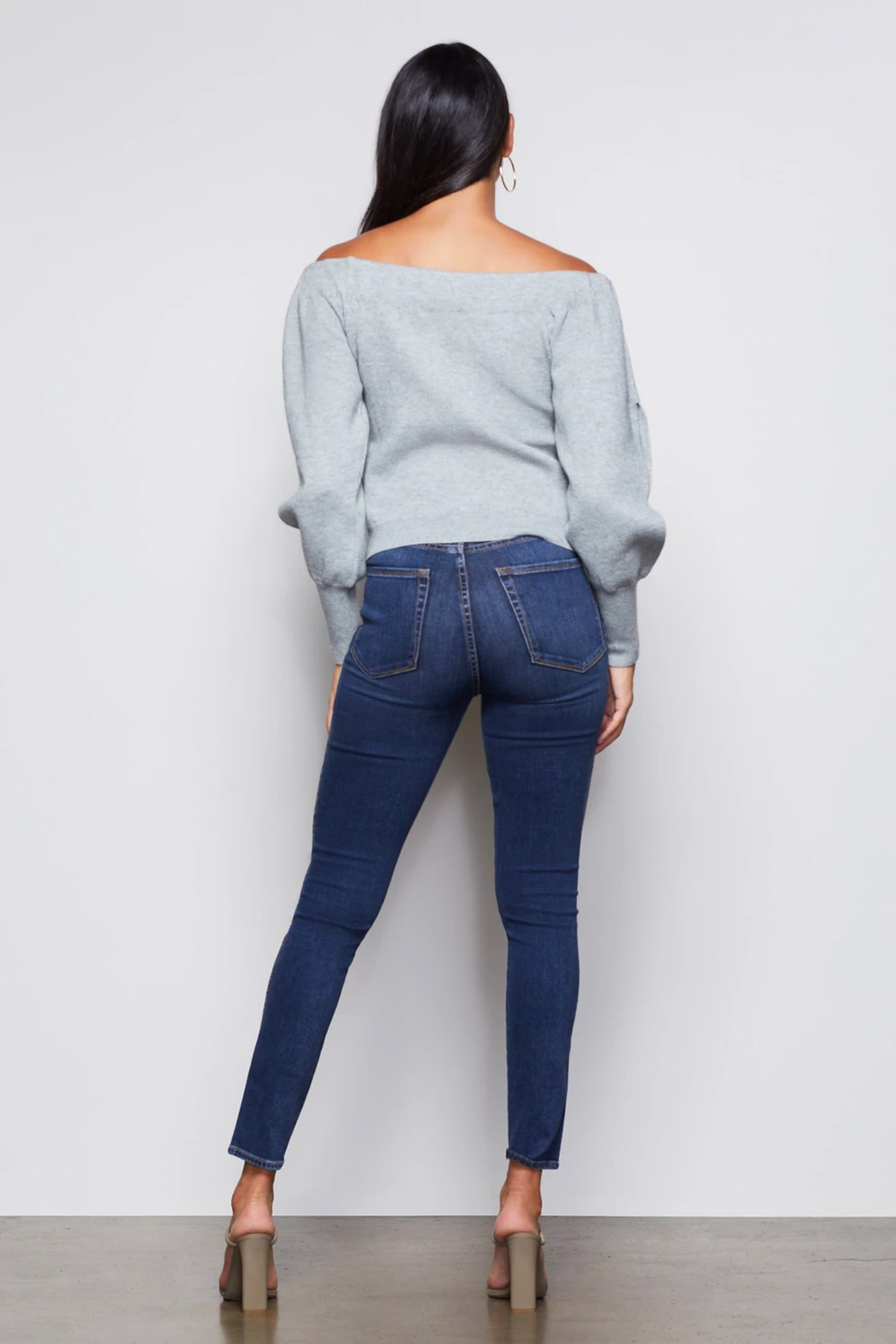 Good American  Off Shoulder Sweater - Back Cropped Image