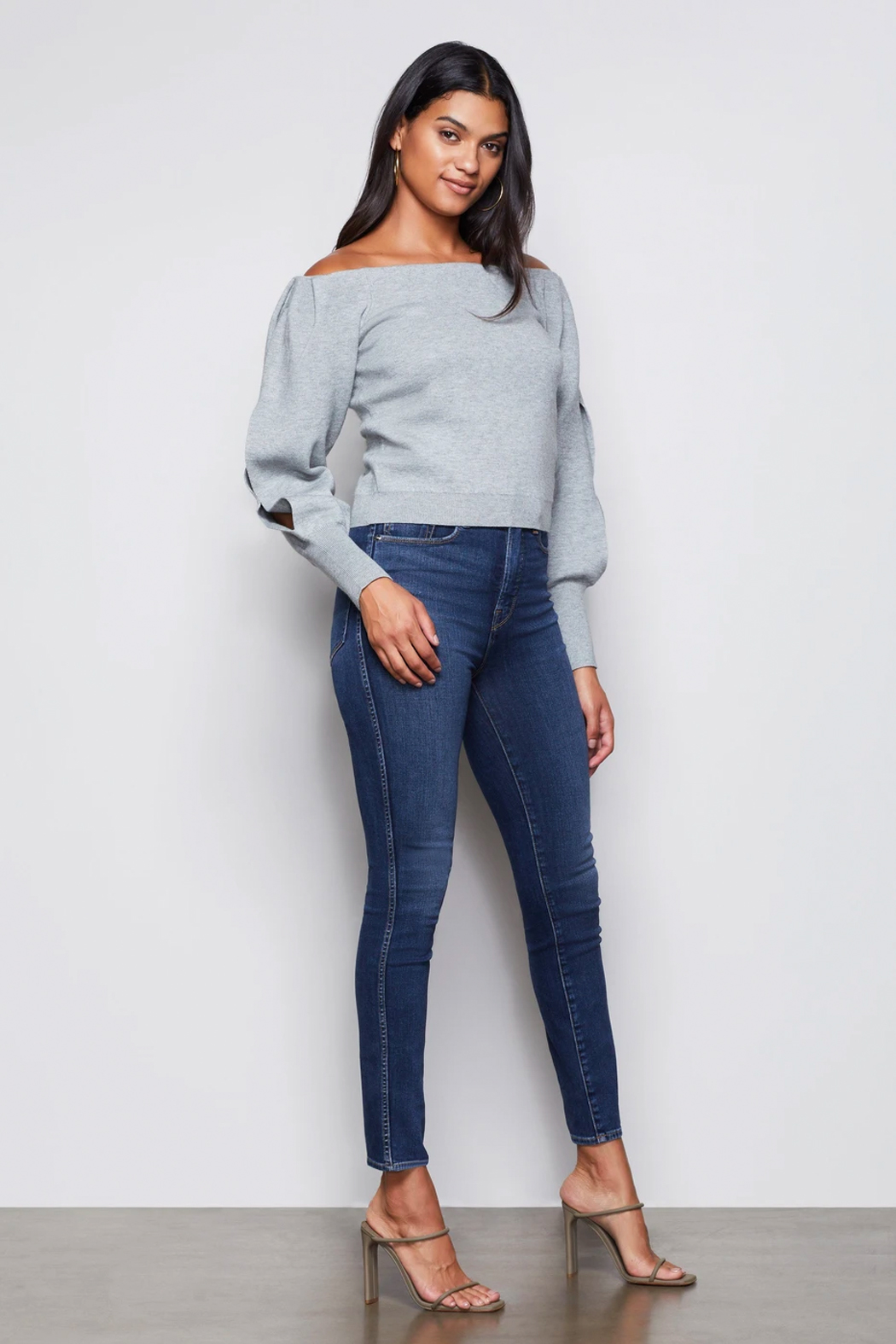 Good American  Off Shoulder Sweater - Front Full Image