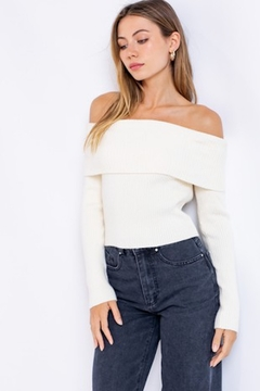 Shoptiques Product: Off Shoulder Sweater Top