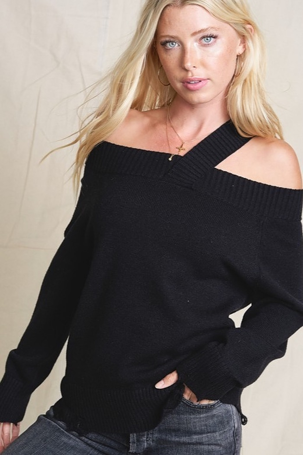 Hyped Unicorn Off Shoulder Sweater With Single Strap - Front Full Image