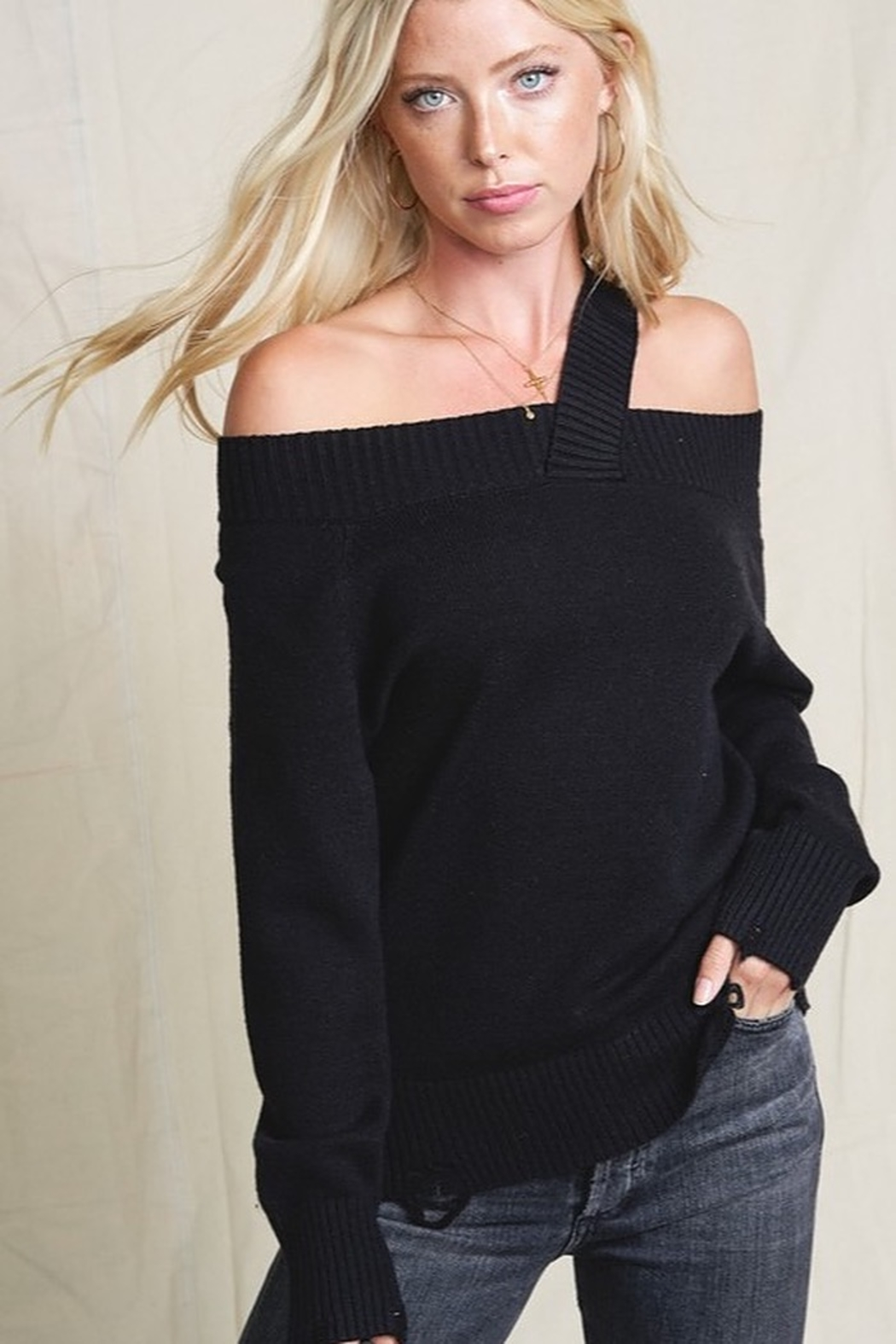 Hyped Unicorn Off Shoulder Sweater With Single Strap - Front Cropped Image