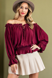 eesome Off Shoulder Tie Front Blouse - Product Mini Image