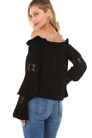 Vava Off Shoulder Top With Crochet Lace Trim - Front full body
