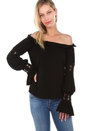 Vava Off Shoulder Top With Crochet Lace Trim - Front cropped