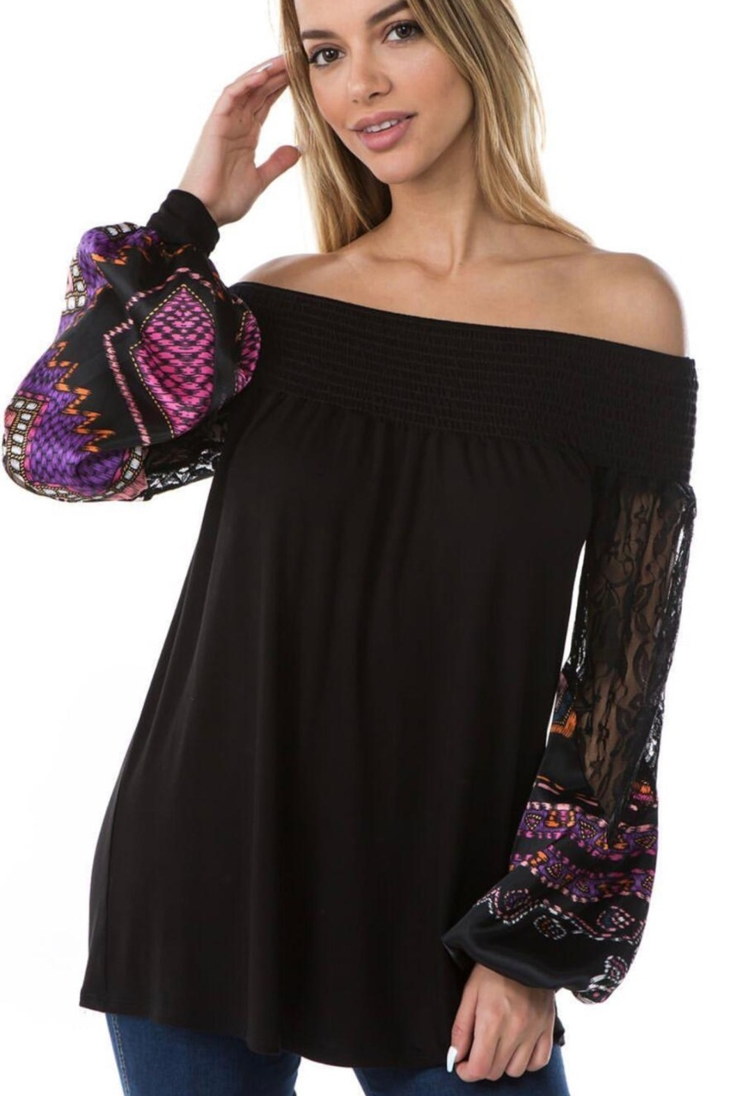 Vava by Joy Hahn Off Shoulder With Lace Arm Top - Front Cropped Image