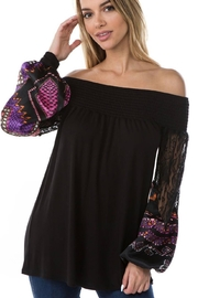 Vava by Joy Hahn Off Shoulder With Lace Arm Top - Front cropped