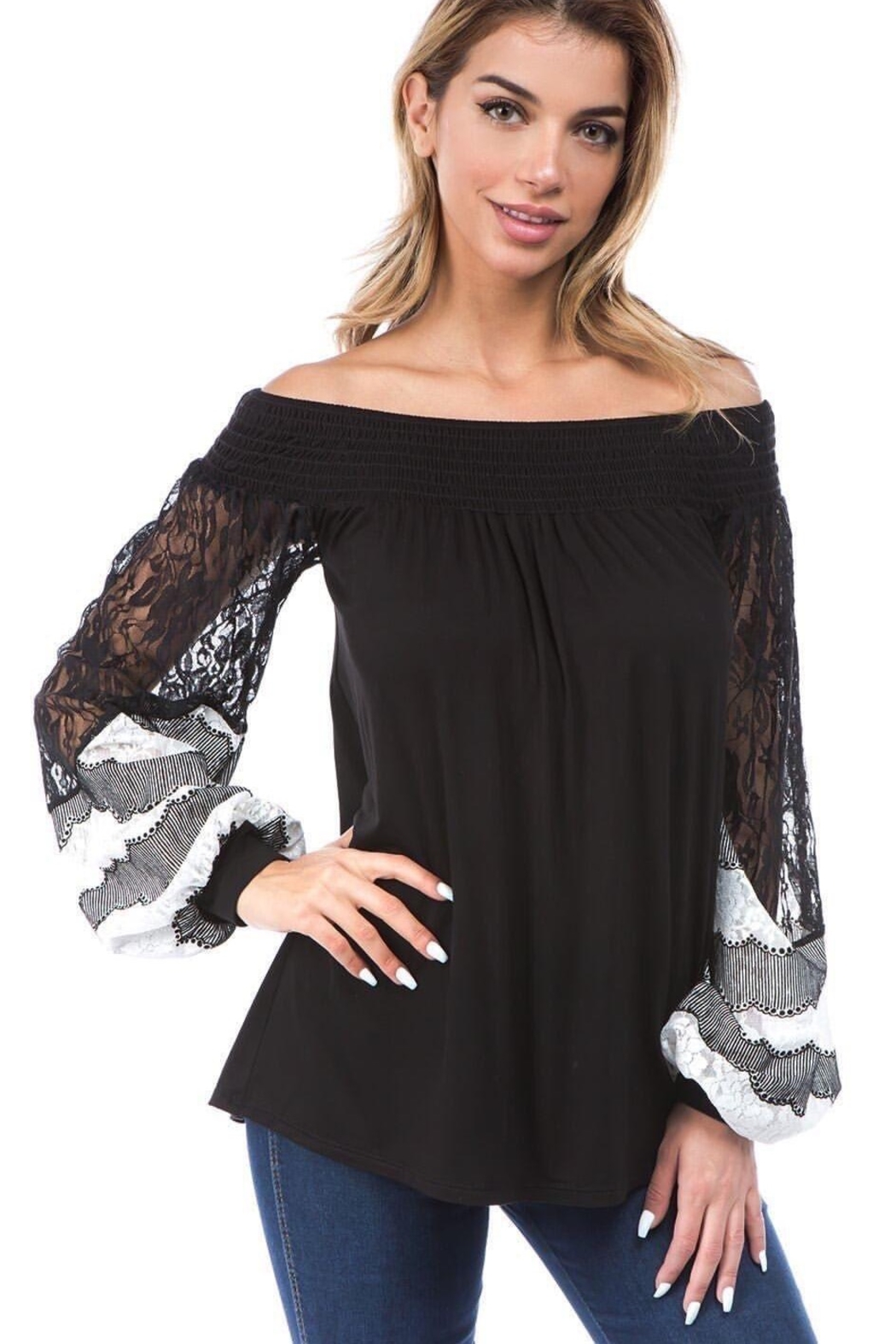 Vava by Joy Hahn Off Shoulder With Lace Arm Top - Main Image
