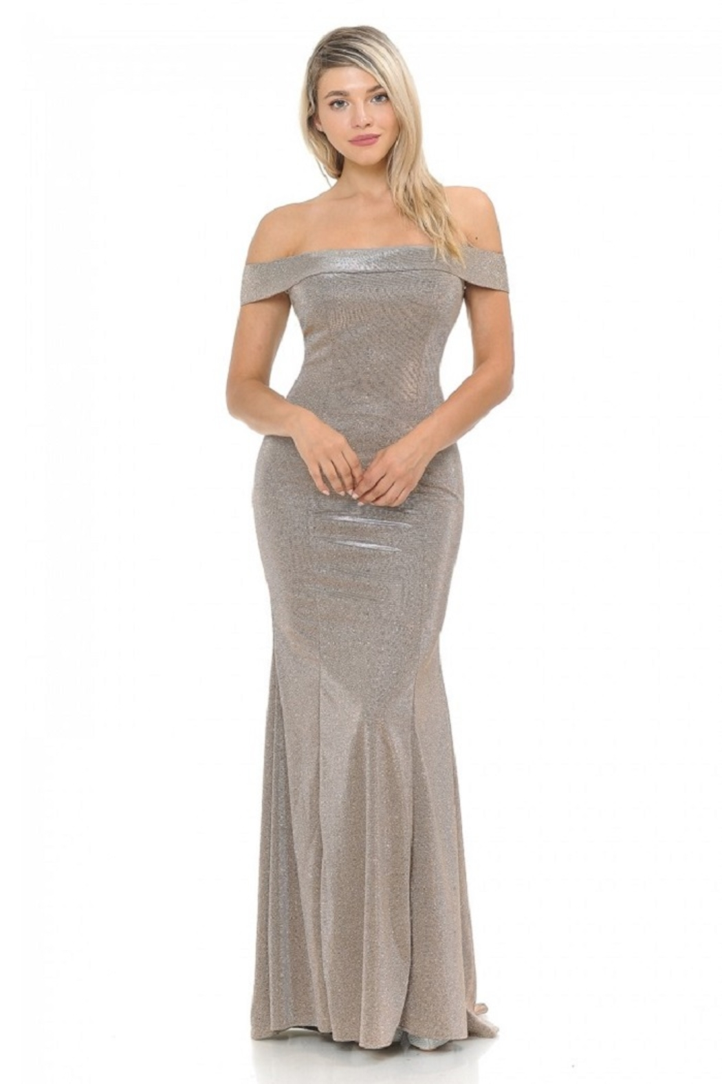 Lenovia  Off The Sholder Taupe Metallic Fit & Flare Long Formal Dress - Front Cropped Image