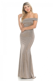 Lenovia  Off The Sholder Taupe Metallic Fit & Flare Long Formal Dress - Front full body
