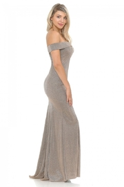 Lenovia  Off The Sholder Taupe Metallic Fit & Flare Long Formal Dress - Side cropped