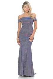 Lenovia  Off The Sholder Purple Metallic Fit & Flare Long Formal Dress - Front cropped