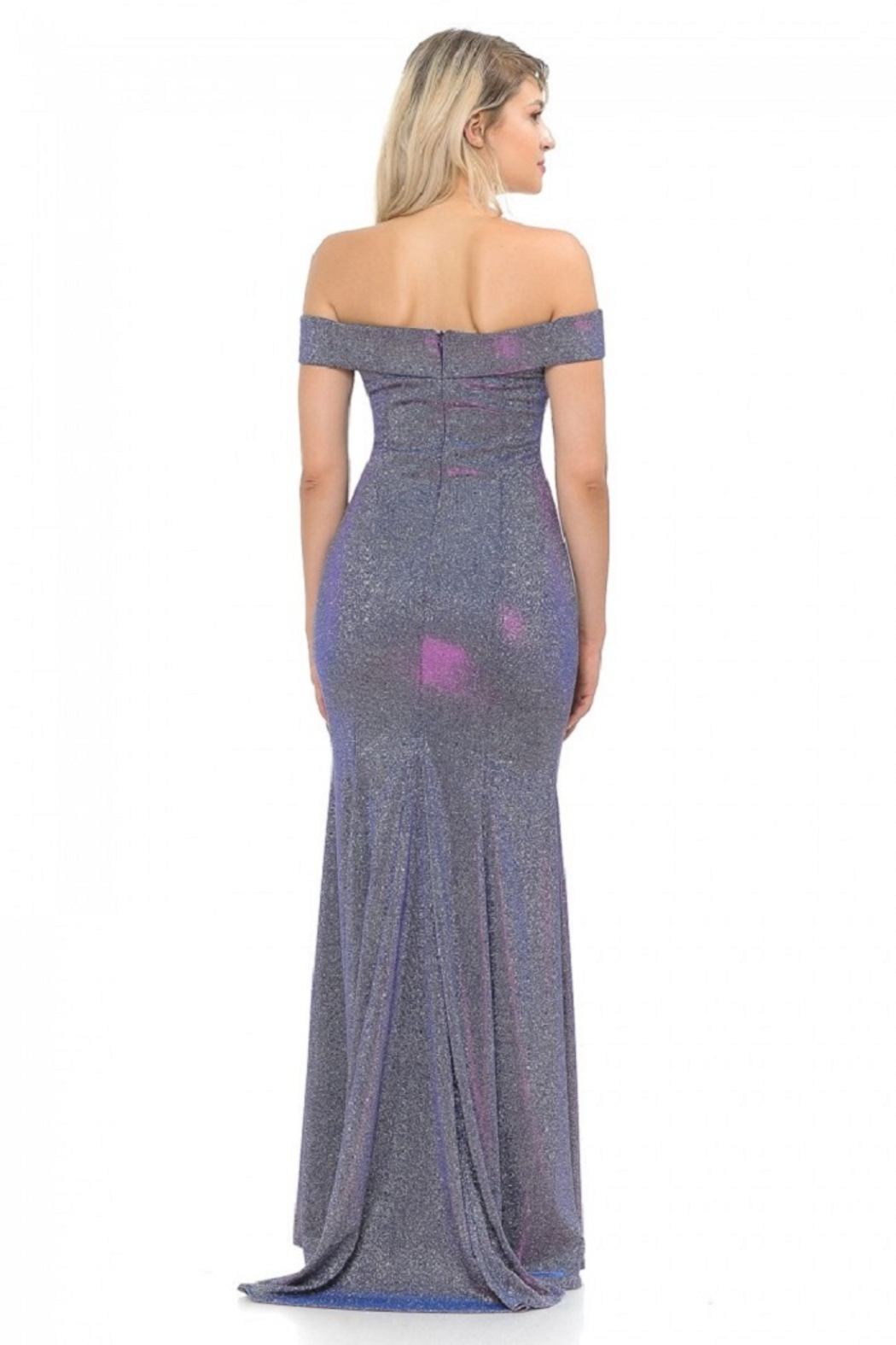 Lenovia  Off The Sholder Purple Metallic Fit & Flare Long Formal Dress - Back Cropped Image