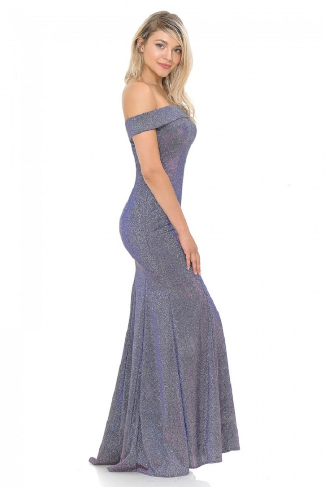 Lenovia  Off The Sholder Purple Metallic Fit & Flare Long Formal Dress - Side Cropped Image