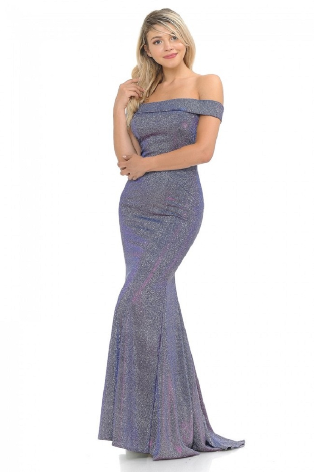 Lenovia  Off The Sholder Purple Metallic Fit & Flare Long Formal Dress - Front Full Image