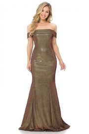 Lenovia  Off The Sholder Gold/Red Metallic Fit & Flare Long Formal Dress - Front cropped