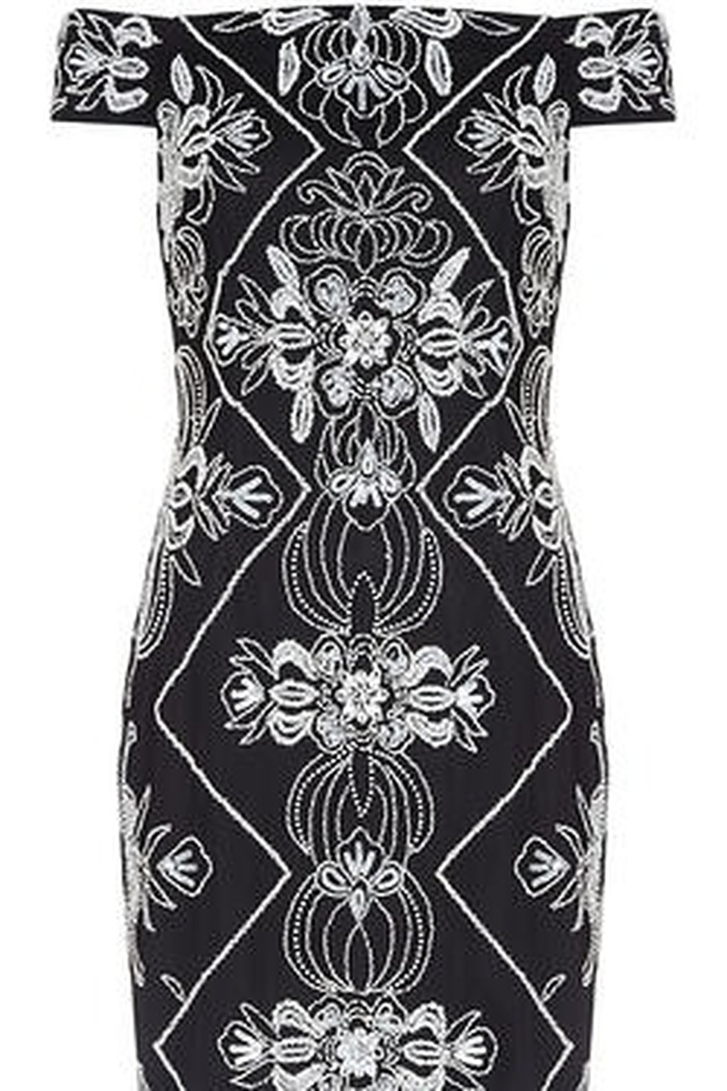 Adrianna Papell Off The Shoulder Beaded Dress - Side Cropped Image