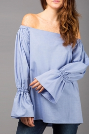 WREN & WILLA Off-The-Shoulder Belle-Sleeve Blouse - Product Mini Image