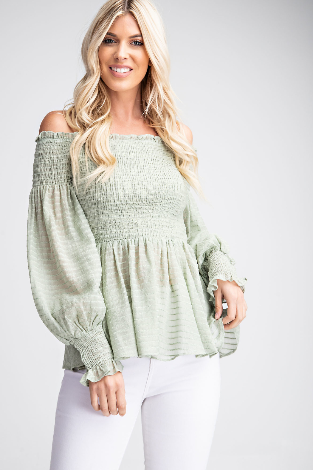 Glam Off The Shoulder Blouse - Front Cropped Image
