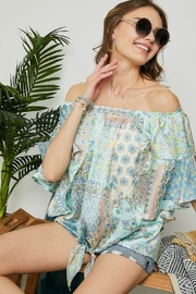 Adora Off the Shoulder Blouse with Bell Sleeve - Front full body