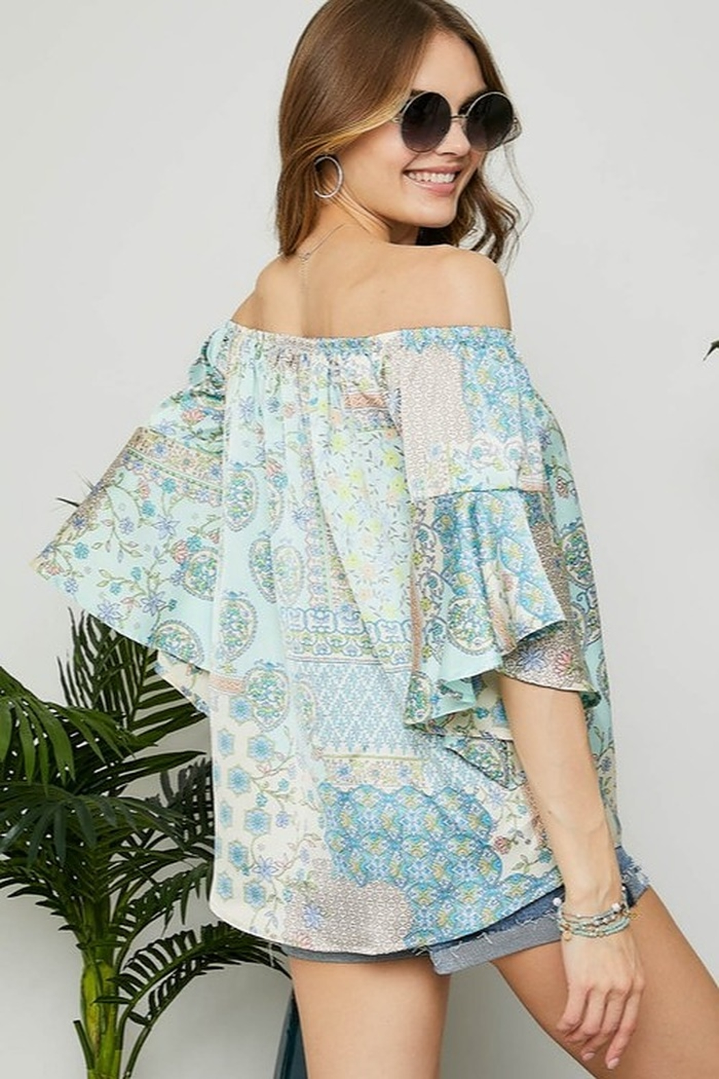 Adora Off the Shoulder Blouse with Bell Sleeve - Side Cropped Image