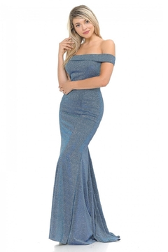 Lenovia  Off The Shoulder Blue Metallic Fit & Flare Long Formal Dress - Product List Image