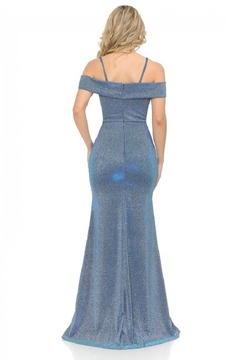 Lenovia  Off The Shoulder Blue Metallic Fit & Flare Long Formal Dress - Alternate List Image