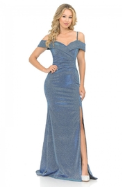 Lenovia  Off The Shoulder Blue Metallic Fit & Flare Long Formal Dress - Product Mini Image