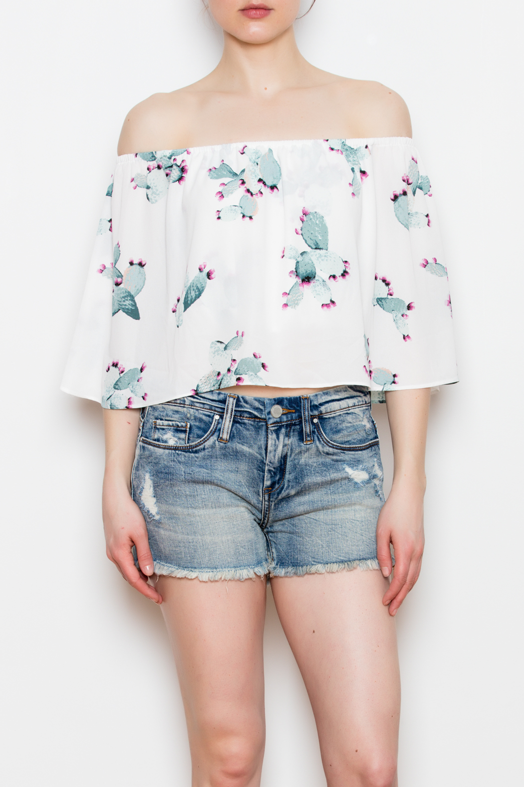 Buddy Love Off The Shoulder Cactus Top - Main Image