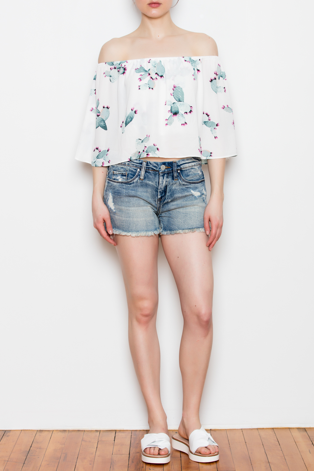 Buddy Love Off The Shoulder Cactus Top - Front Full Image