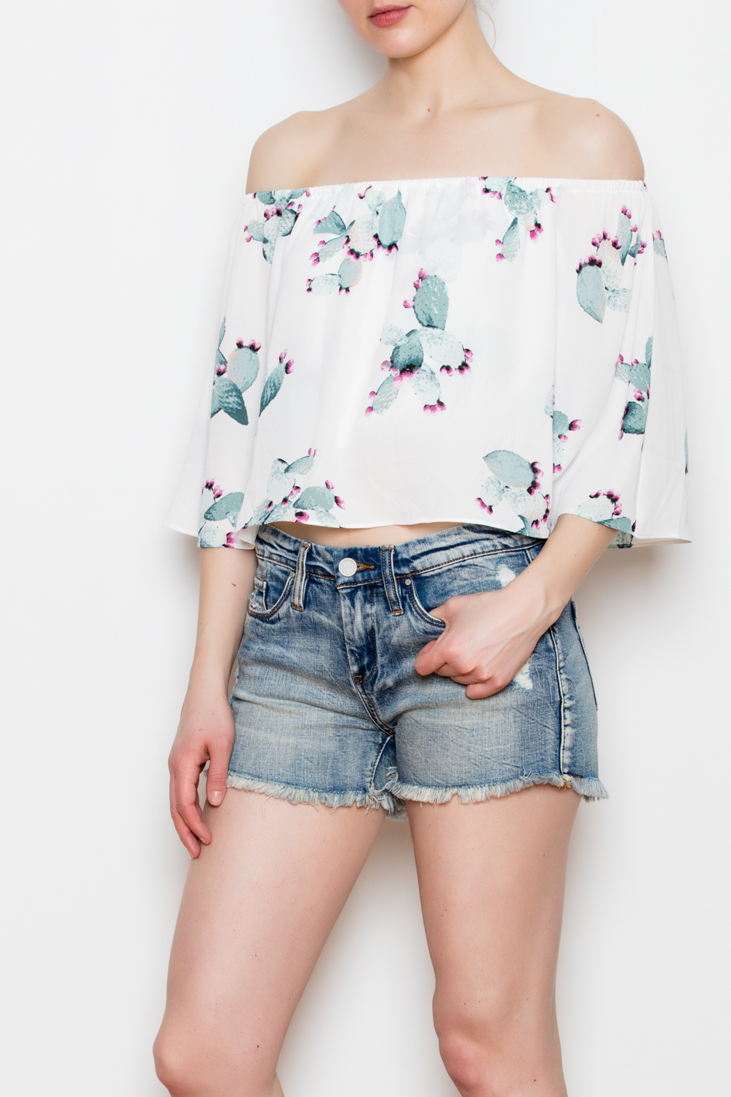 Buddy Love Off The Shoulder Cactus Top - Side Cropped Image