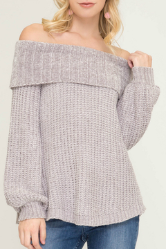 She + Sky Off the Shoulder Chenille Sweater - Product List Image