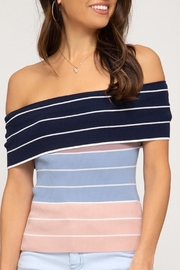She + Sky Off-The-Shoulder Color-Block Top - Product Mini Image