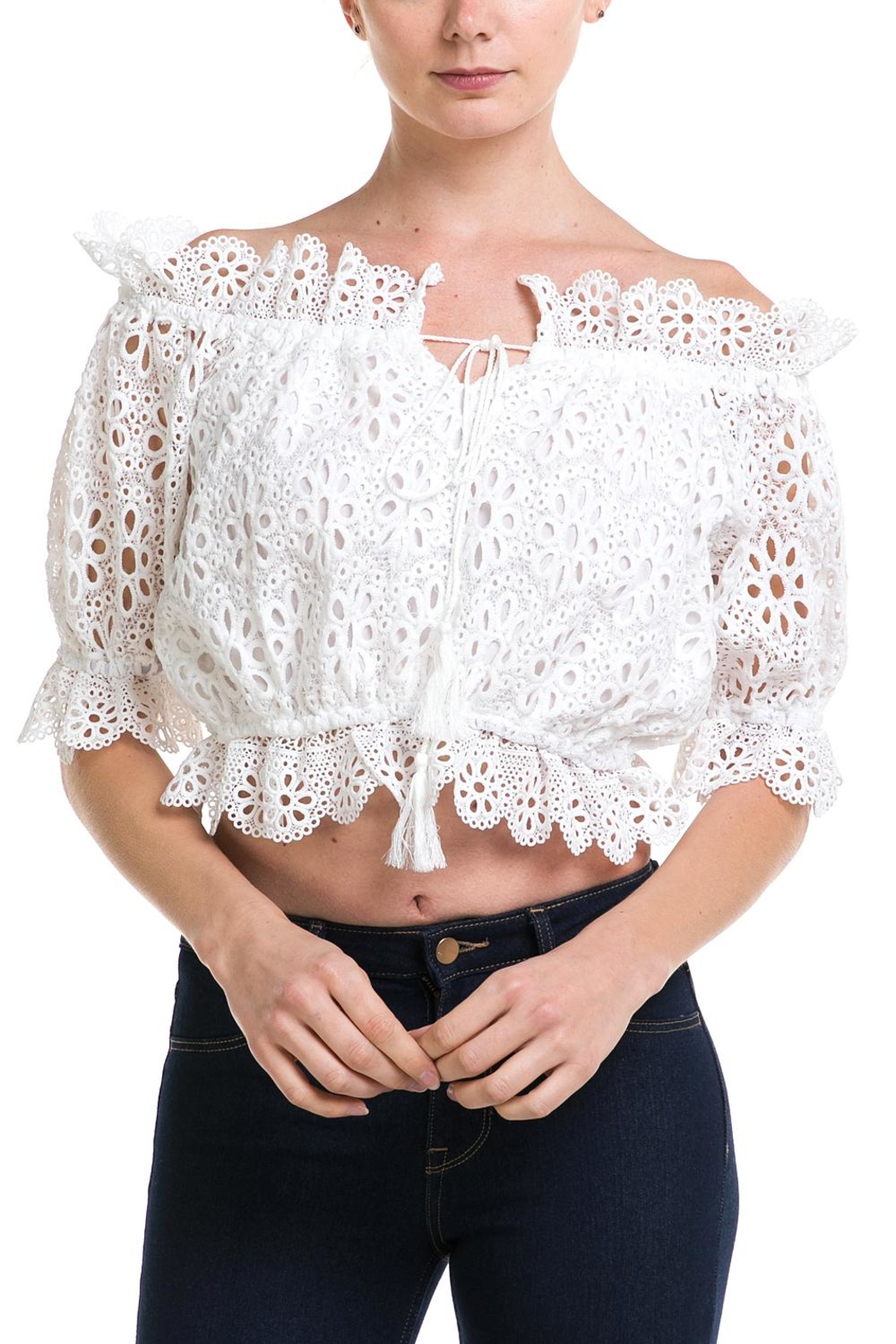 3747662fde1 blue blush Off-The-Shoulder Crochet Crop-Top from New York by Dor L Dor —  Shoptiques