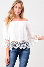 MONTREZ OFF THE SHOULDER CROCHET TRIM TOP - Product Mini Image