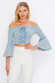 Flying Tomato Off The Shoulder Denim Top - Product Mini Image