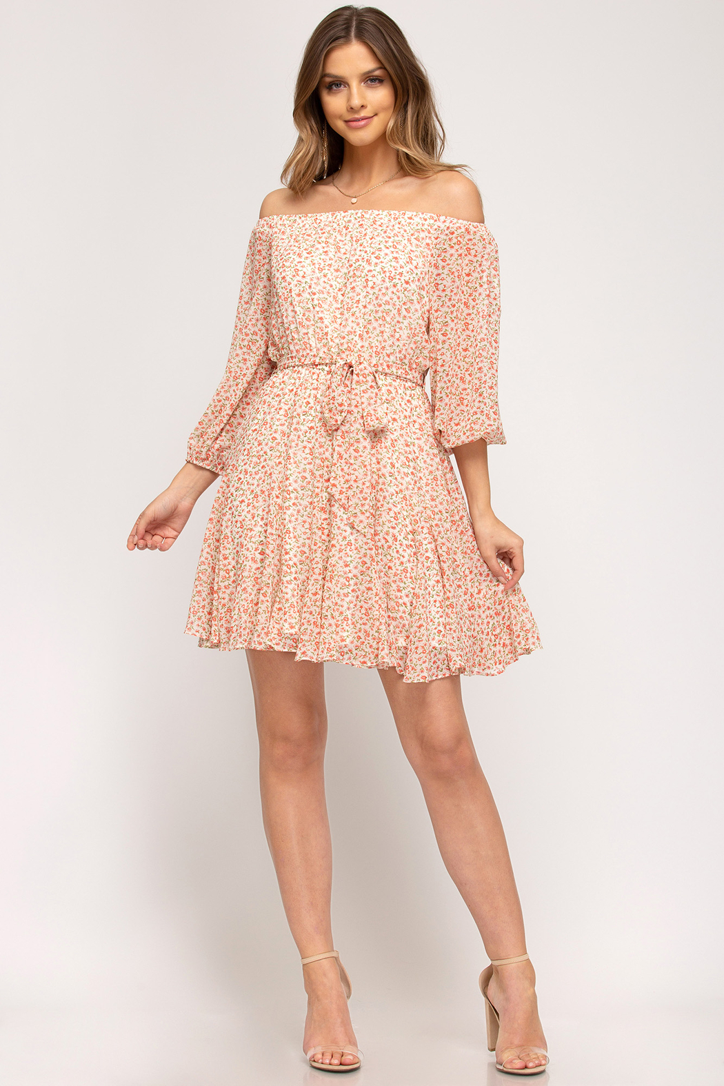 She and Sky Off the Shoulder Floral Dress - Back Cropped Image