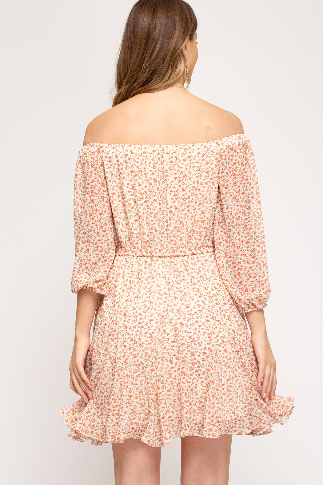 She and Sky Off the Shoulder Floral Dress - Front Full Image