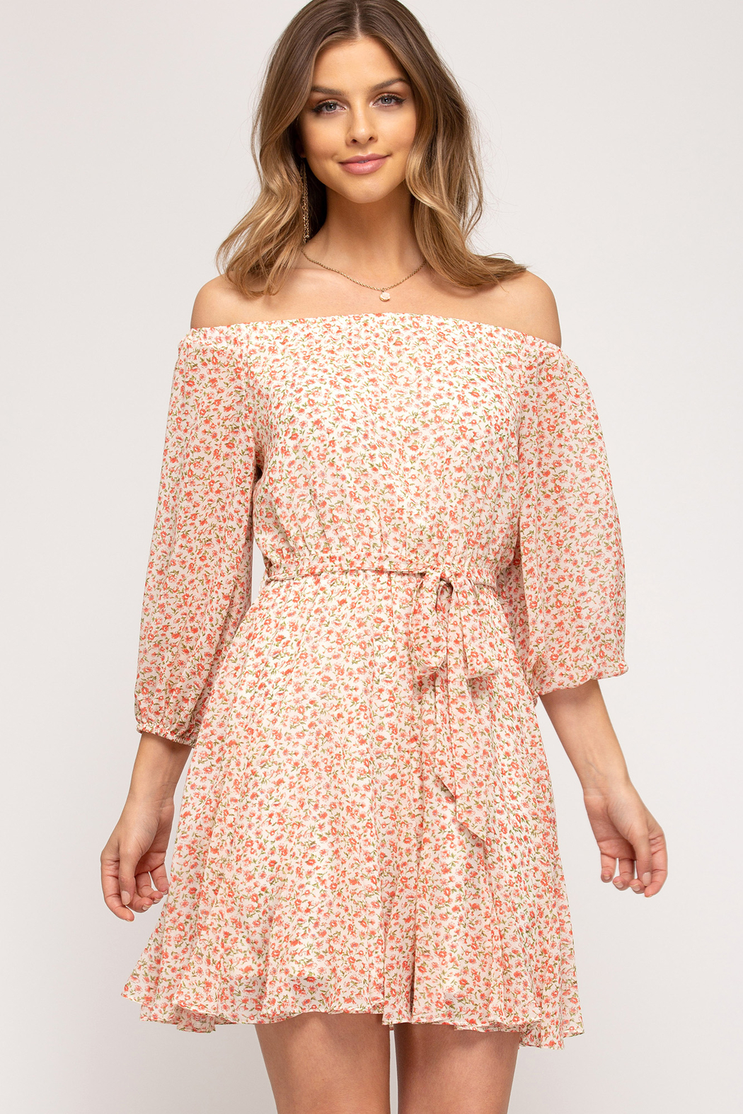 She and Sky Off the Shoulder Floral Dress - Main Image