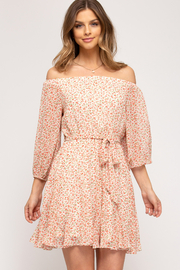 She and Sky Off the Shoulder Floral Dress - Front cropped