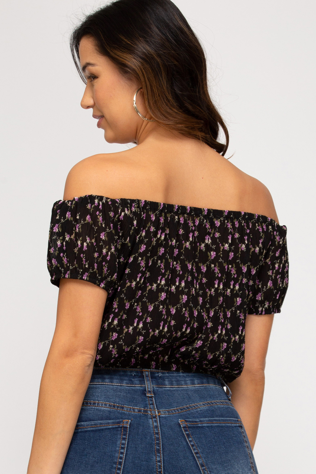 She and Sky Off the Shoulder Floral Top - Back Cropped Image
