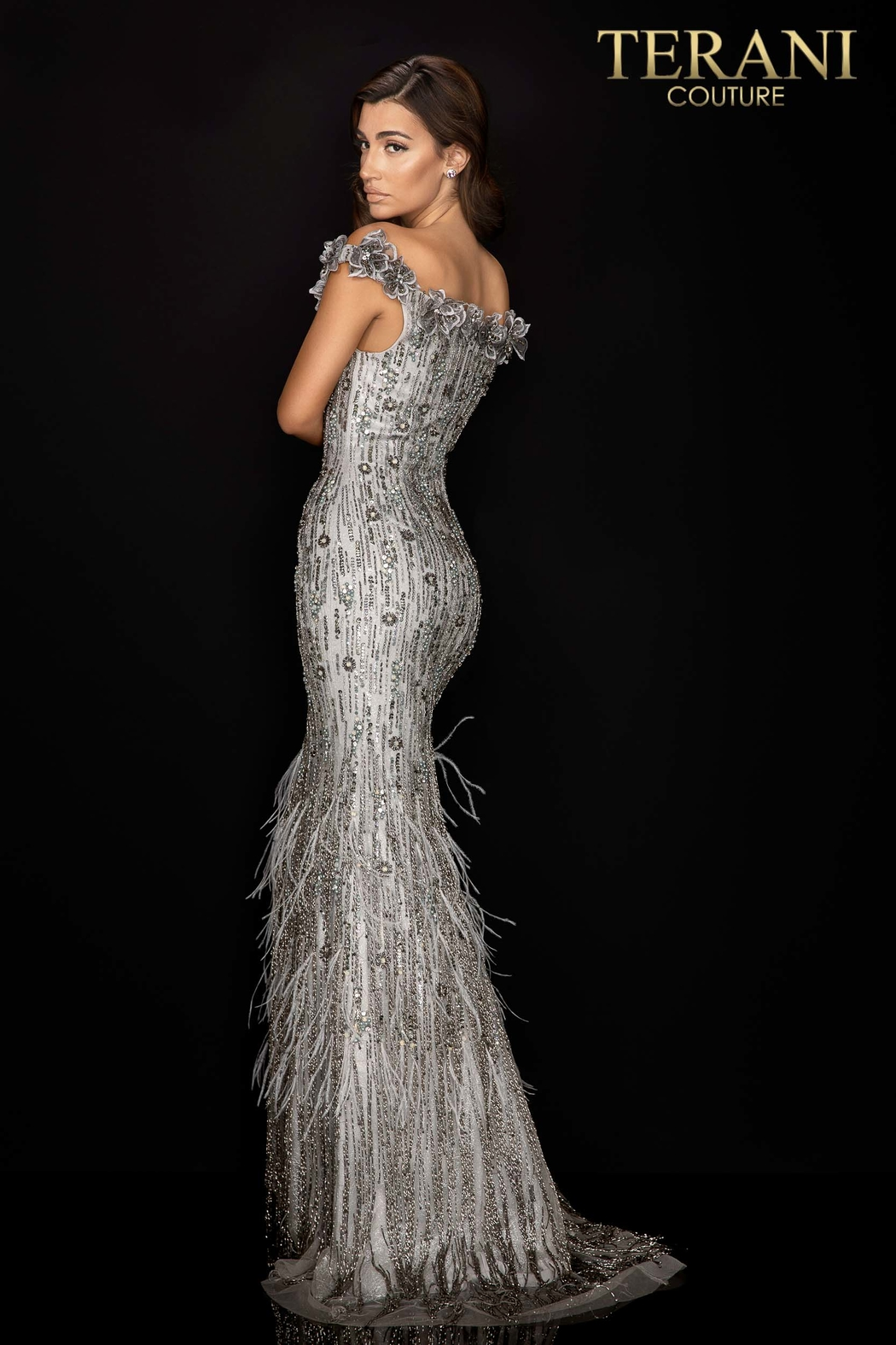 Terani Couture Off the Shoulder Gown - Front Full Image