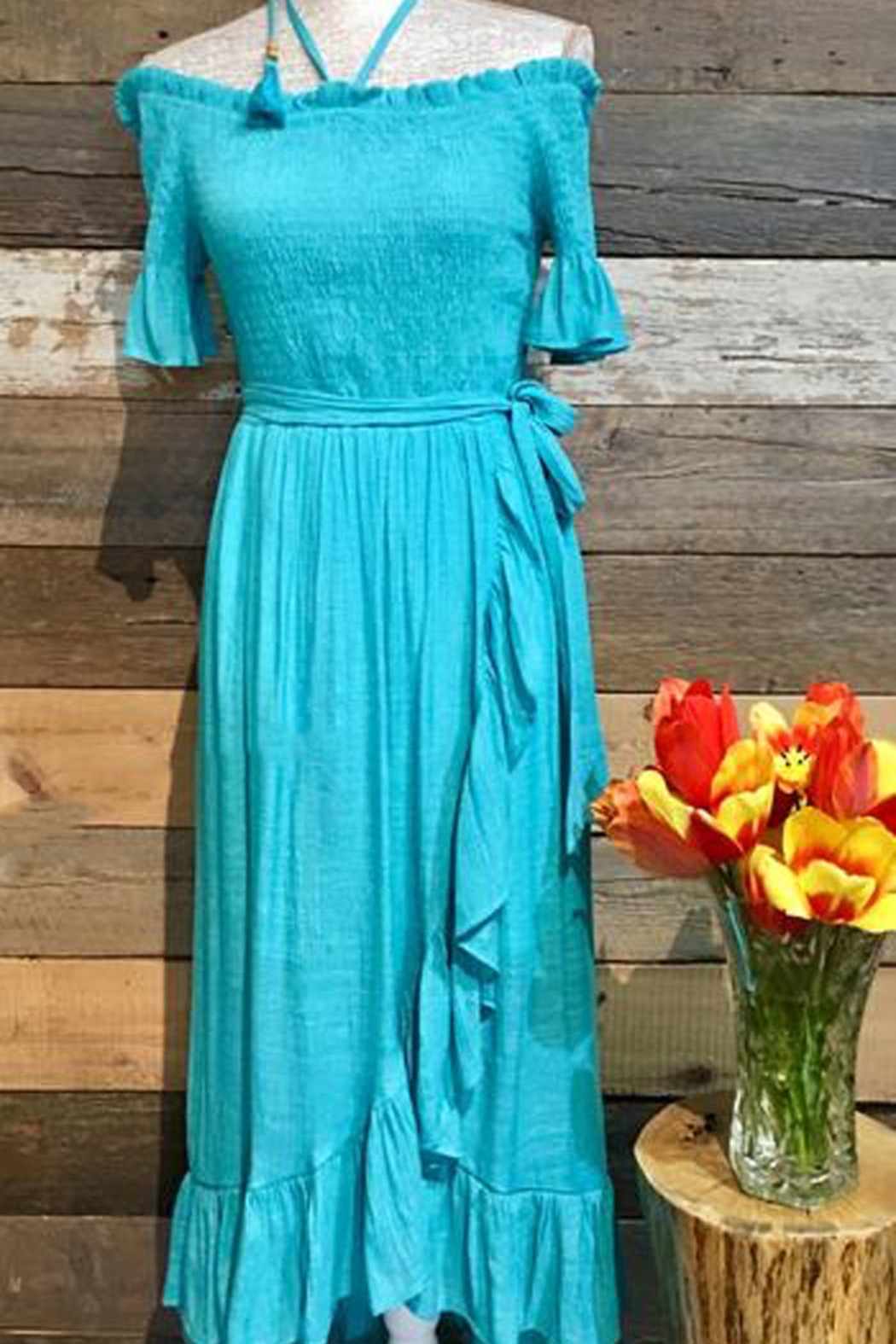 Flying Tomato Off the Shoulder Halter Maxi - Main Image
