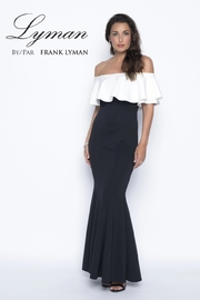 Frank Lyman Off the Shoulder Long Dress, Black/White - Front cropped