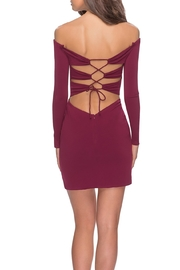 La Femme Off the Shoulder Long Sleeve Dress With Lace Up Back - Front full body