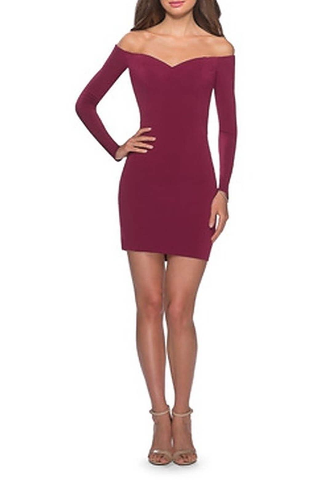 La Femme Off the Shoulder Long Sleeve Dress With Lace Up Back - Front Cropped Image