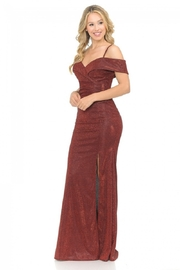 Lenovia  Off The Shoulder Wine Metallic Fit & Flare Long Formal Dress - Front full body