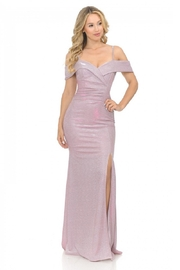 Lenovia  Off The Shoulder Pink Metallic Fit & Flare Long Formal Dress - Product Mini Image