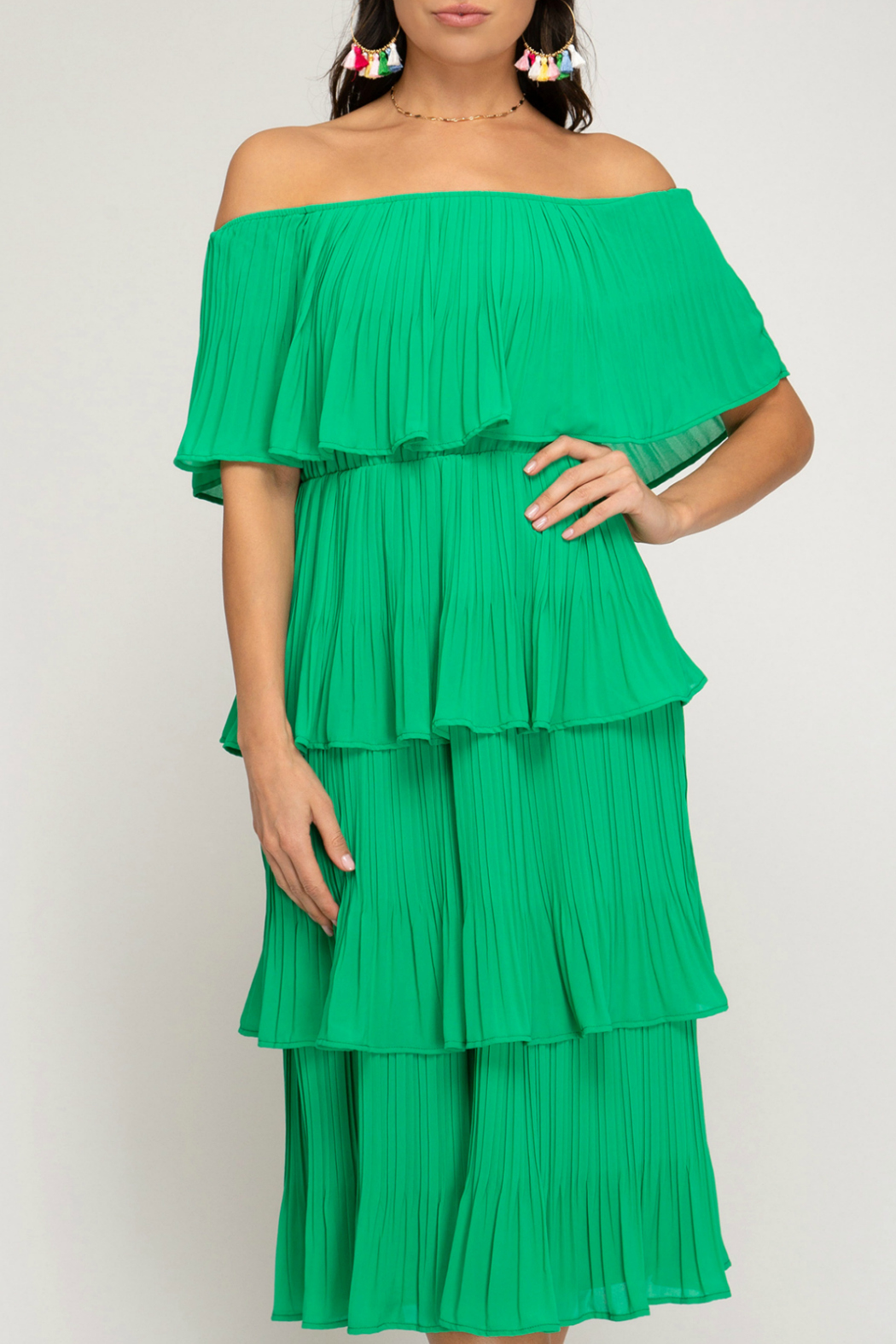 She and Sky Off the shoulder, pleated layer dress - Main Image
