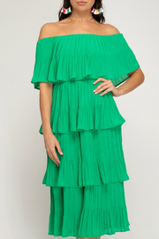 She and Sky Off the shoulder, pleated layer dress - Product Mini Image