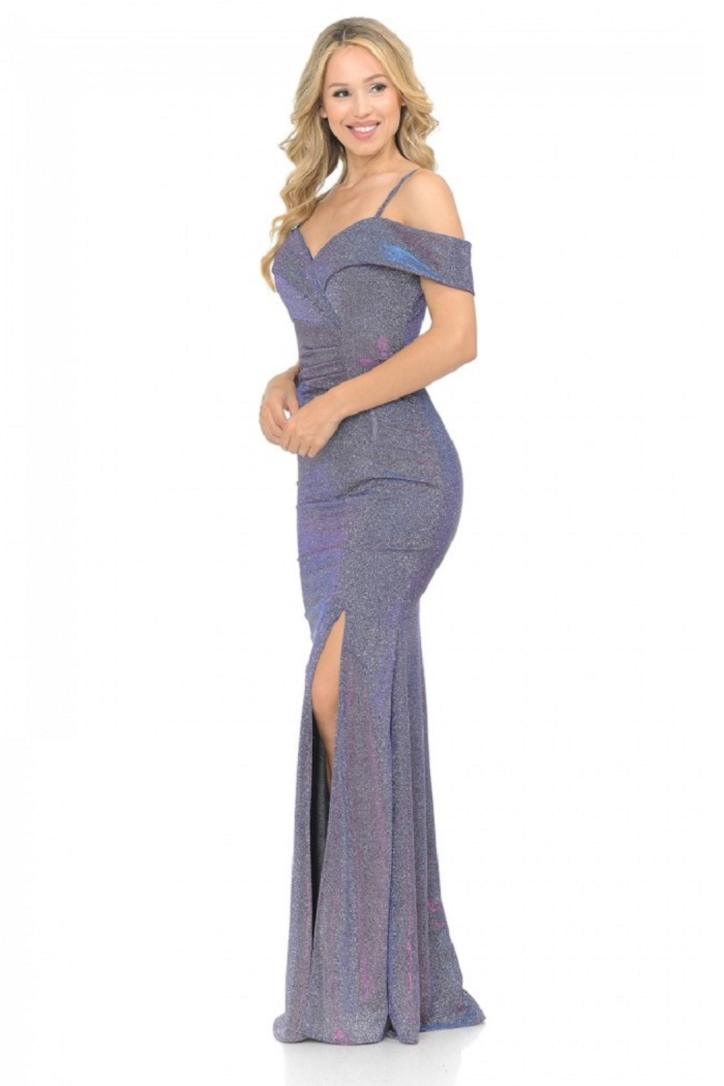 Lenovia  Off The Shoulder Purple Metallic Fit & Flare Long Formal Dress - Side Cropped Image